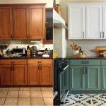 Деревянная кухня до и после окрашивания