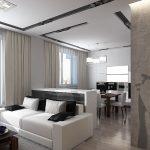 Интерьер квартиры студии в бело-черных тонах