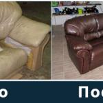 Кожаный диван до и после самостоятельного восстановления