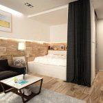 Кровать на подиуме в нише гостиной в современном стиле