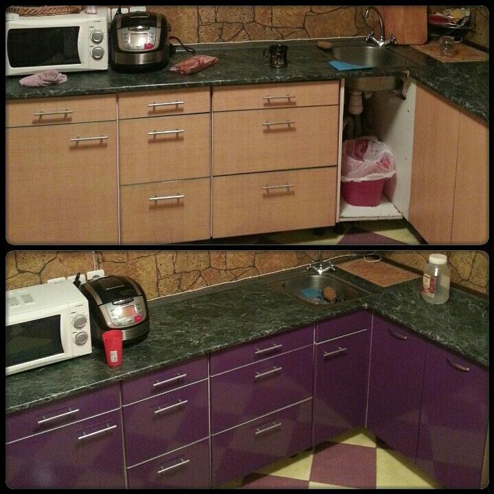 Как обновить кухонный гарнитур своими руками покрасив его фото 22