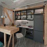 Кухня в стиле лофт с деревянными и металлическими элементами