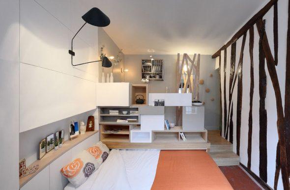 Мультифункциональный интерьер современной однокомнатной квартиры,