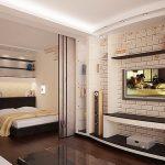 Ниша с кроватью за стеклянной перегородкой в гостиной