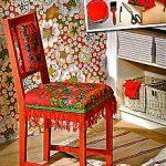 Обивка сиденья стула павловопосадским платком
