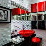 Оригинальный шкаф-купе для ванной в черно-красных тонах