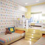 Подиум с выдвижными кроватями, стеллажами и письменными столами