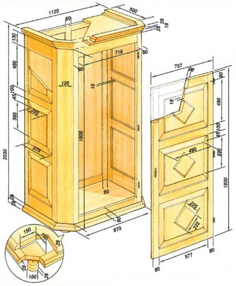 Проект деревянного шкафа для одежды