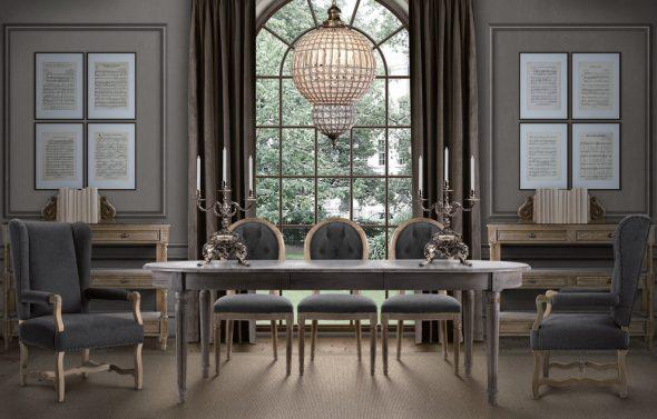 Раскладной овальный стол для гостиной в классическом стиле