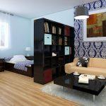 Разделение гостиной с помощью стеллажа на 2 зоны