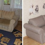 Ремонт обивки углового дивана до и после