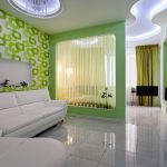 Шикарный дизайн одной комнаты с разделением на гостиную и спальню