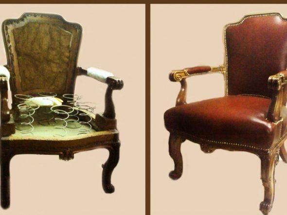 Старинный стул до и после ремонта