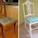 Стул до и после реставрации обивки