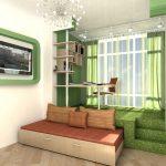 Выдвижная кровать-подиум в интерьере гостиной