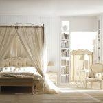 Дизайн белой спальни с классическим балдахином