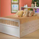 Ящики для хранения располагаются в основании кровати