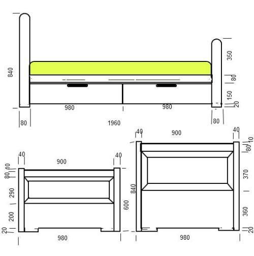 Подробный чертеж кровати