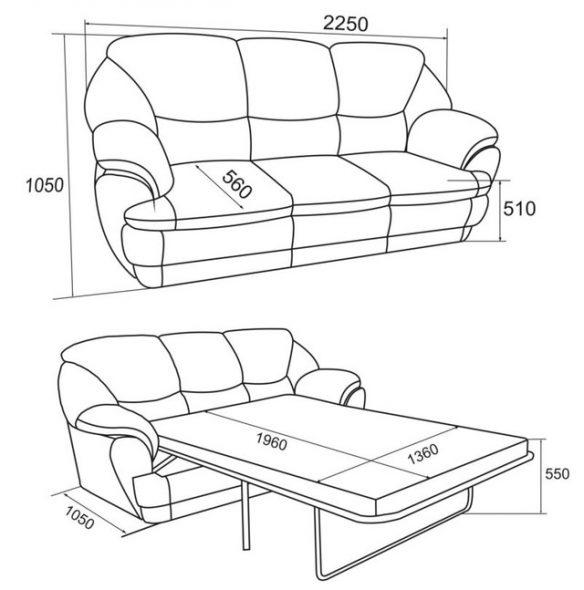 Размеры дивана
