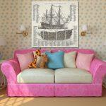 Розовый диванчик в детскую для девочки