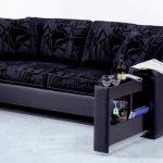Сине-черный диван с выдвижной секциией