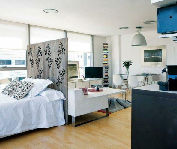 Скандинавский стиль для спальни-гостиной