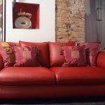Стильный кожаный красный диван