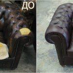 Черное кресло до и после перетяжки