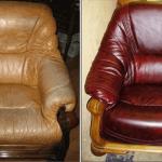 Коричневое кожаное кресло до и после перетяжки