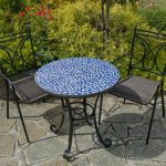 Кованый стол с мозаикой и стулья в комплекте