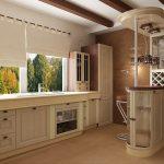Красивая кухня с красивым видом из окна и без верхних шкафов