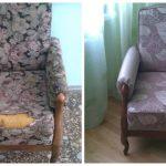 Красивое мягкое кресло с подлокотниками до и после ремонта