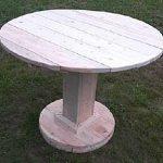 Круглый стол из досок на массивной одной ножке