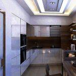 Кухонные шкафы до потолка на современной встроенной кухне
