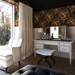 Место для макияжа со столиком, зеркалом и подсветкой