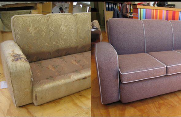 Мягкий диван до и после замены обивки