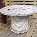 Необычное оформление круглого стола с ножкой, обмотанной бечевкой