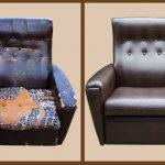 Обновленное кожаное кресло с новой обивкой