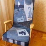Обновленное кресло из джинсов своими руками