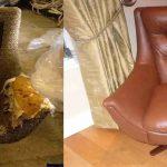 Перетяжка кресла необычной формы