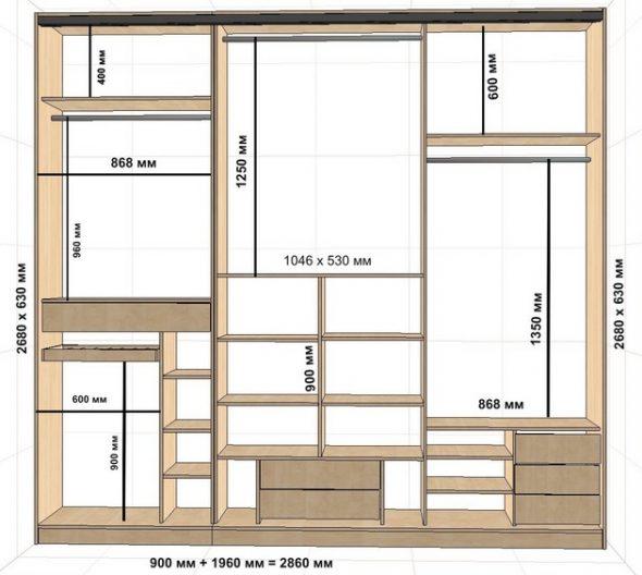 Расчет размеров шкафа