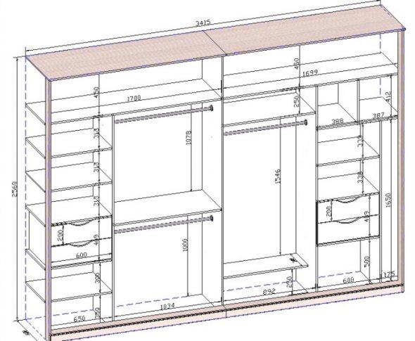 Большой прямоугольный шкаф-купе