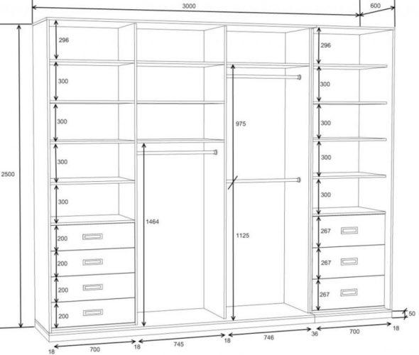 Чертеж шкафа-купе 60 см
