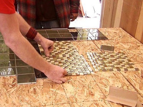 Плитка в сочетании с мозаикой