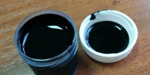 Черная жидкая кожа в баночке