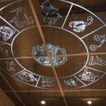 Зеркальные панели со знаками зодиакана потолке