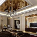 Элементы зеркального потолка в классической гостиной