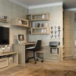 Классический письменный стол с угловым расположением полок