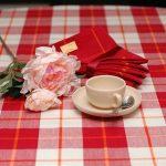 Клетчатая бело-красная скатерть для стола