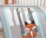 Комплект в кроватку с лисятами - одеяло и подушка